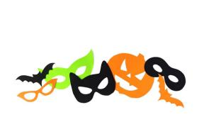 Halloween. The paper masks on a white background which are cut out from paper